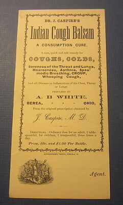 Old c.1900 - Dr. Caspire's Indian Cough Balsam - QUACK MEDICINE Label - BEREA OH
