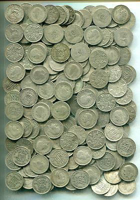 SIXPENCES x 200: £5 of pre 1947, equivalent to 8.71 tr oz of pure silver - mixed