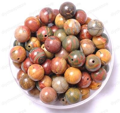 20pcs Picasso Natural Gemstone Round Spacer Loose Beads 8MM #12