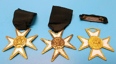 Lot of 3 Vintage Masonic Masons Knights Templar Medals