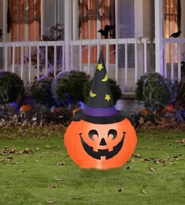 4-ft Pumpkin W/Witch Hat airblown halloween inflatable