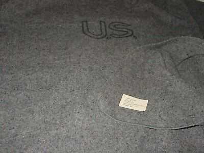 """Us Black Stampted Logo Military 60 X 84"""" Gray 3119 Wool Blanket Bed Cabin Field"""