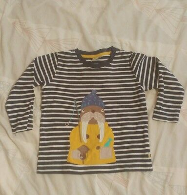 Frugi Organic Fishing Walrus Top 4-5 T shirt boys girls unisex
