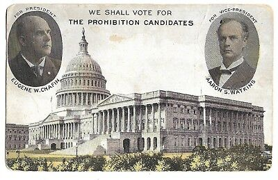 Chafin, Watkins Prohibition Party 1908 Third Party Jugate Political Postcard