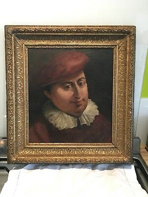 18th/19thc Antique Oil On Canvas On Board In Period Gilt Frame