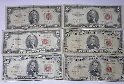 Lot of 6 U.S Red Seal United States Notes (3-$2 and 3-$5) NO RESERVE