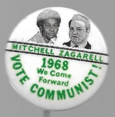 Mitchell And Zagarell Communist Party 1968 Jugate Political Pin