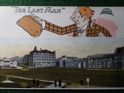 "Fife.  St Andrews From The West. Golf. "" The Last Man ""  Art Publishing Co."