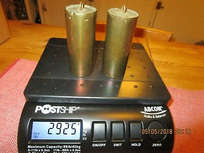 Pair of Antique Clock weights . Brass cylinders filled with lead - approx 2.9 kg
