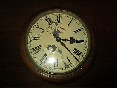 Antique Wooden Synchronome wall Clock for refurbishment  -  battery movement