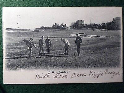"Fife.  St Andrews. Golf "" Putting "" With Hugh Kirkaldy - Open Champion. 1902."
