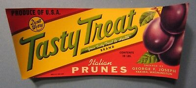 Wholesale Lot of 100 Old Vintage 1940's TASTY TREAT - Italian PRUNES LABELS