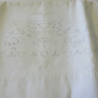 Stamped to Embroider Pillowcases Pair HEARTS Cotton Blend