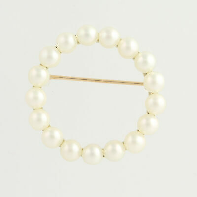 Cultured Pearl Circle Brooch - 14k Yellow Gold Women's June Gift