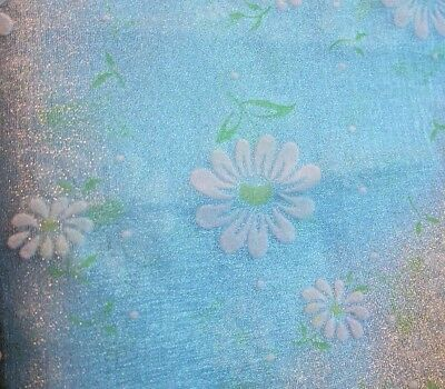 SWISS DOTTED Vintage FABRIC White FLOCKED FLOWERS Daisies Blue Sheer 2 Yd 46w