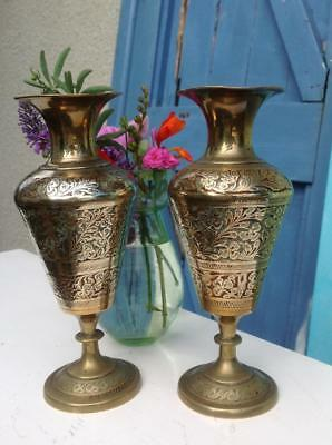 Antique Anglo Indian Brass Cloisonne Vases Detailed Engraving STUNNING Pair CHIC