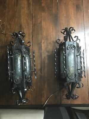 electric vintage wrought iron wall sconce