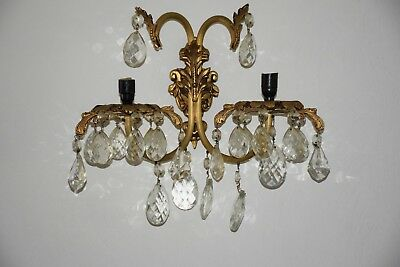 Vintage/antique Victorian Cast Metal  2 Light Wall Sconce With Crystals
