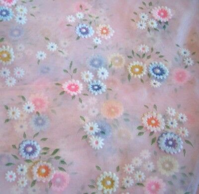 Vintage FABRIC FLOCKED FLOWERS Daisies Pale Pink Sheer 3 Pieces