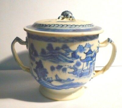 Vintage Unmarked Chinese Blue and White Porcelain Covered Jar Berry Handle