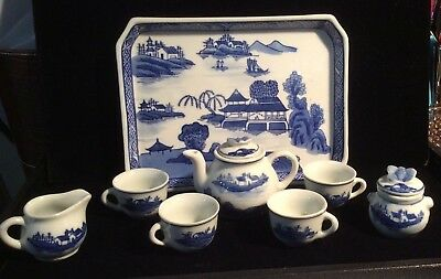 Vintage Chinese Blue & White Willow Miniature 10 Pc Tea Set Butterfly Handles