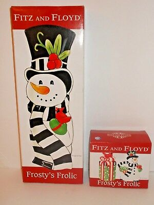New Fitz & Floyd Frostys Frolic Elongated Tray & Salt And Pepper Lot