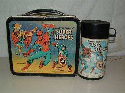 1976 EMBOSSED TIN-LITHO METAL MARVEL COMICS SUPER HEROES  LUNCHBOX and THERMOS