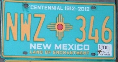 NEW MEXICO CENTENNIAL  license plate  NWZ 346