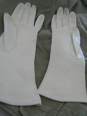Vintage Retro White Real Leather Evening Gloves Longline Small