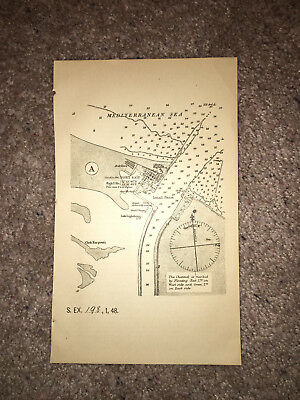 1884 Suez Canal Map Diagram Port Said Ismail Basin Chek Karpouti