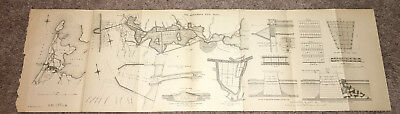 1884 Suez Canal Map Diagram The Amsterdam Ship Canal N. Holland Zuider Zee Locks