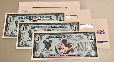 Disney $1 Dollar Lot Of (3) 1989 Sequential Notes With Holders Mickey Mouse VGC