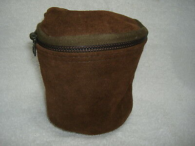 Vintage Brown Suede Leather Fleeced Lined Fishing Reel Zippered Storage Case