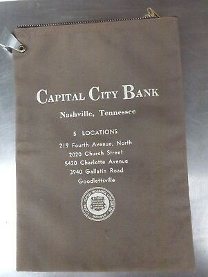 Capital City Bank of Nashville Zippered Currency Money Bag