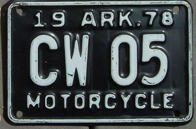 ARKANSAS  Vintage 1978 Motorcycle Cycle License plate  CW 05       >