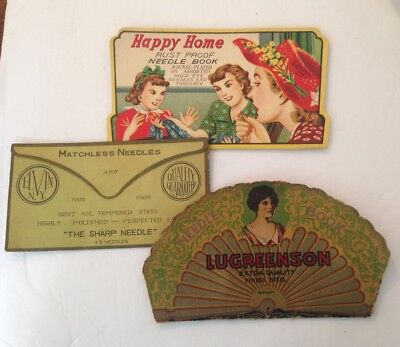 Lot of 3 Vintage Antique Sewing Needle Books- Lugreenson , Happy Home