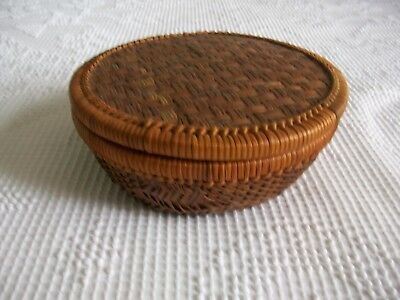 Vintage Handmade & Hand Weaved Sewing Basket And Misc. Sewing Items