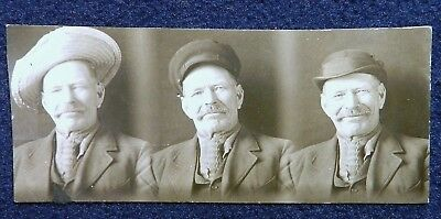 Vtg 1890s 1900s Photobooth Strip PHOTOS Smiling Happy Old Man Models Hats Caps