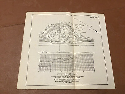 1910 Panama Canal Diagram of Contour of Slide Sta. Showing Cross Section Sta.