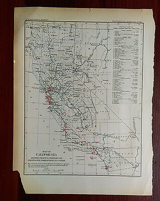 Late 1800's USGS California Showing Fossiliferous Localities Map