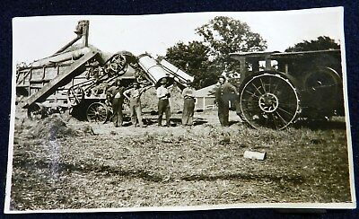 Vtg 1900s 1910s American Farm Snapshot PHOTO Steam Tractor Threshing Machine Men