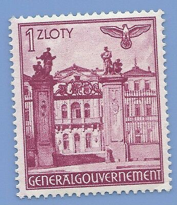 Germany Nazi Third Reich Nazi Occupation of Poland Swastika 1z Stamp WW2 ERA #q