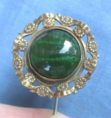 ANTIQUE LADIES HAT PIN GOLD OR BRASS COLOR WITH GREEN STONE 9.25 inches