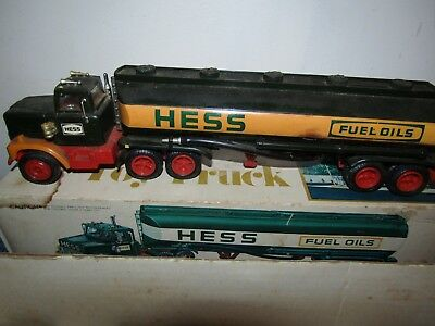 60s 70s VINTAGE HESS FUEL OILS OIL TRUCK TOY TRUCK IN THE ORGINAL BOX
