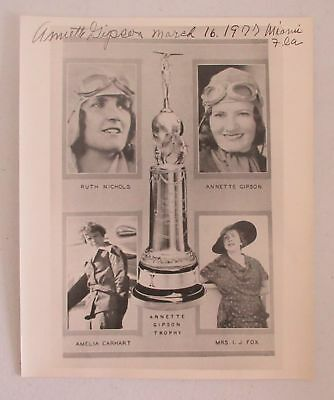 signed 1934 NEW YORK WOMEN'S AIR RACE PHOTOGRAPH ANNETTE GIPSON