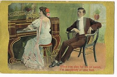 """1910 ANTIQUE ROMANCE Postcard  """"WHEN YOU PLAY FOR ME SO SWEET..I'M AT YOUR FEET"""""""