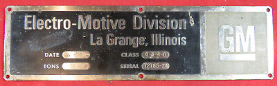 Locomotive Builders Plate - Seaboard Coast Line RR EMD GP38-2 Locomotive #523