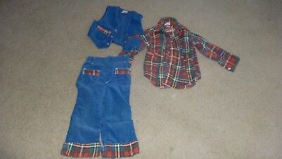 Vintage 1970's Billy the Kid Blue Corduroy & Flannel Boys Outfit size 3/4