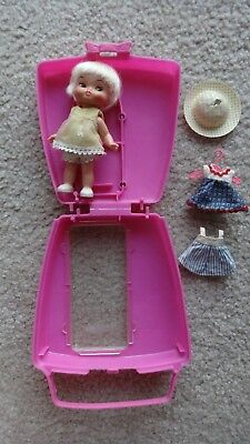 Vintage Remco Heidi's Little Sister Hildy Doll, Clothes & Case/ Purse