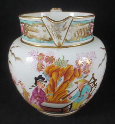 Antique ENGLISH CHINOISERIE Entirely Hand Painted Creamware PITCHER JUG